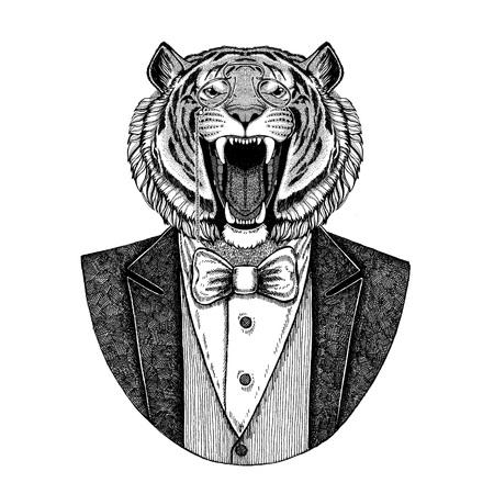 야생 호랑이 Hipster 동물 문신, 엠 블 럼, 배지, 로고, 패치, t- 셔츠에 대 한 손으로 그린 그림