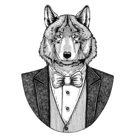 늑대 개 Hipster 동물 손으로 그린 이미지 문신, 엠 블 럼, 배지, 로고, 패치, t- 셔츠