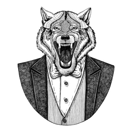 rimless: Wolf Dog Hipster animal Hand drawn image for tattoo, emblem, badge, logo, patch, t-shirt