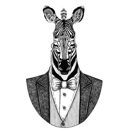 얼룩말 말 Hipster 동물 문신, 엠 블 럼, 배지, 로고, 패치, t- 셔츠에 대 한 손으로 그린 된 이미지
