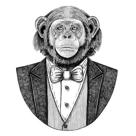 Chimpanzee Monkey Hipster animal Hand drawn illustration for tattoo, emblem, badge, logo, patch, t-shirt Stock Photo