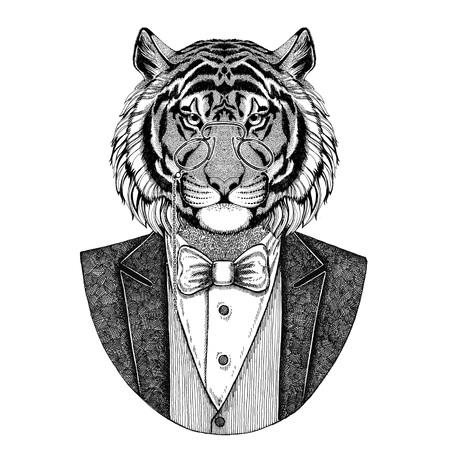 야생 호랑이 Hipster 동물 손으로 그린 이미지 문신, 엠 블 럼, 배지, 로고, 패치, t- 셔츠 스톡 콘텐츠
