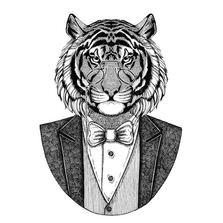 Wild tiger Hipster animal Hand drawn image for tattoo, emblem, badge, logo, patch, t-shirt Stock Photo