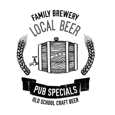 cereal bar: Hand drawn beer emblem with beer barrel Illustration for pub, bar, restaurant Illustration
