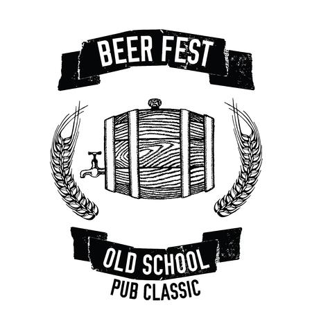 Hand drawn beer emblem with beer barrel Illustration for pub, bar, restaurant Çizim