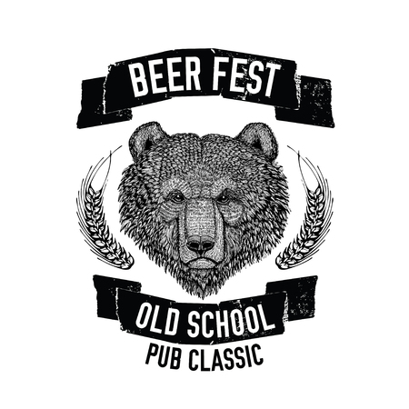 Hand drawn beer emblem with brown bear for logotype, badge, menu cover
