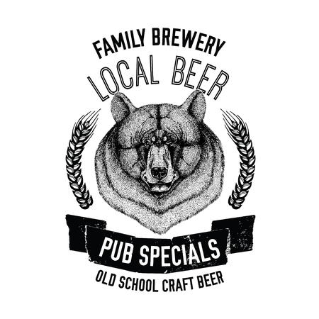 Hand drawn beer emblem with american black bear Template for badge, logo, menu cover, patch Illustration
