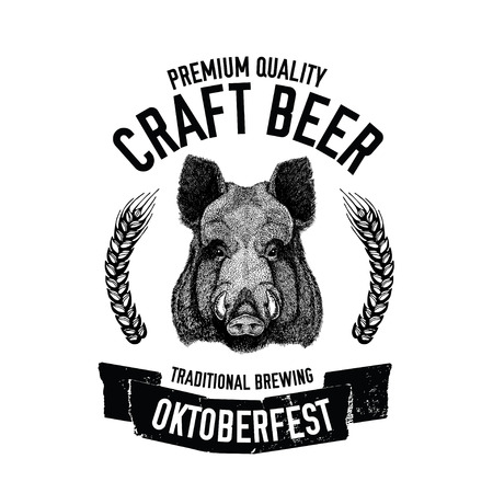 Hand drawn beer emblem with wild hog, boar, pig Template for badge, logo, menu cover, patch