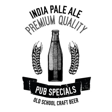 Hand drawn beer emblem with bottle of beer Illustration