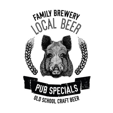 cereal bar: Hand drawn beer emblem with wild hog, boar, pig Template for badge, logo, menu cover, patch