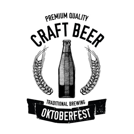 Hand drawn beer emblem with bottle of beer Иллюстрация