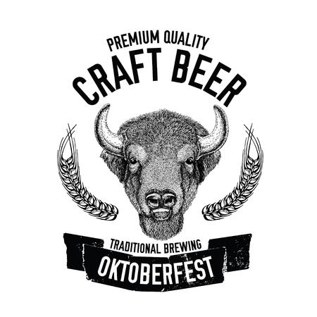 Hand drawn beer emblem with buffalo, ox, bull Vector image