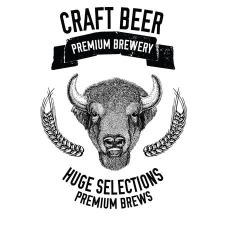 Handgetekend bierembleem met buffels, os, stier Vector afbeelding