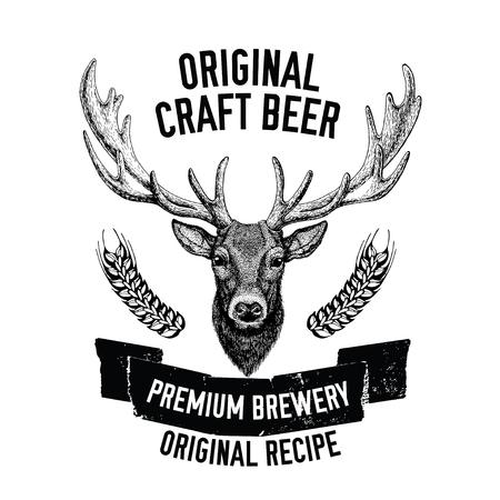 Hand drawn beer emblem with deer Vector label Ilustrace