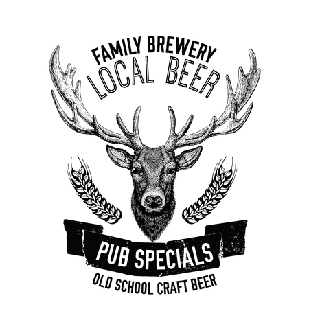 cereal bar: Hand drawn beer emblem with deer Vector label Illustration