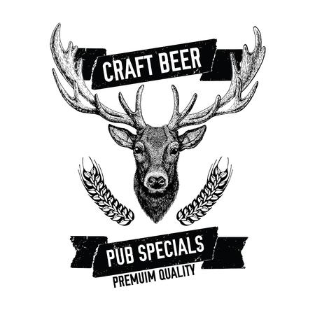 Hand drawn beer emblem with deer Vector label Illustration