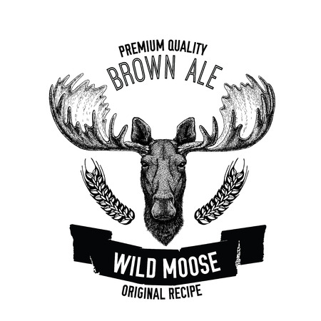 Hand drawn beer emblem with wild moose Illustration