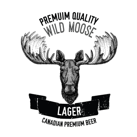 cereal bar: Hand drawn beer emblem with wild moose Illustration