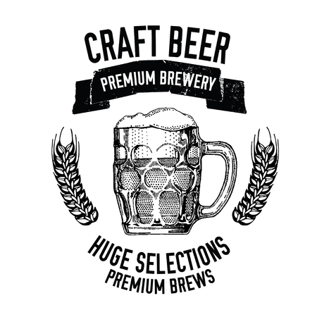 cereal bar: Hand drawn beer emblem with mug full of beer Vector image