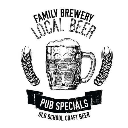 Hand drawn beer emblem with mug full of beer Vector image