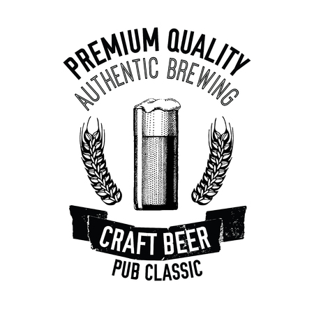 Hand drawn beer emblem with glass full of craft beer, lager, ale, stout Vector image