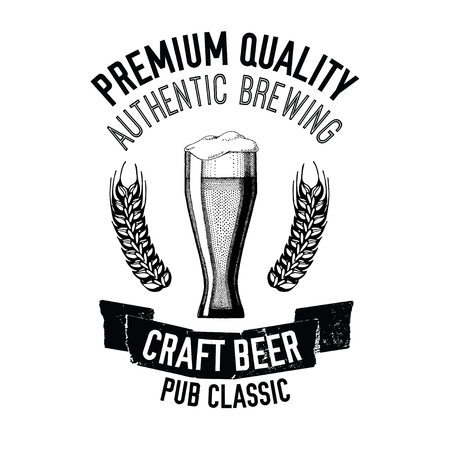 cereal bar: Hand drawn beer emblem with glass full of craft beer, lager, ale, stout Vector image