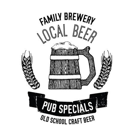 Large wooden mug of craft beer Beer emblem for pub, bar, beer label Hand drawn illustration for Oktoberfest