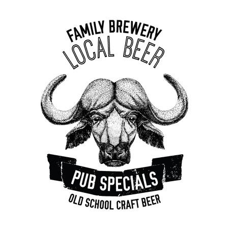 Beer emblem with ox, buffalo, bull Badge for label, logo design for beer pub, oktoberfest beer label or logotype