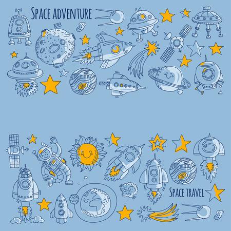 スペース、衛星、月、星、宇宙船、宇宙ステーションのスペース手描き・落書きアイコンとパターン  イラスト・ベクター素材