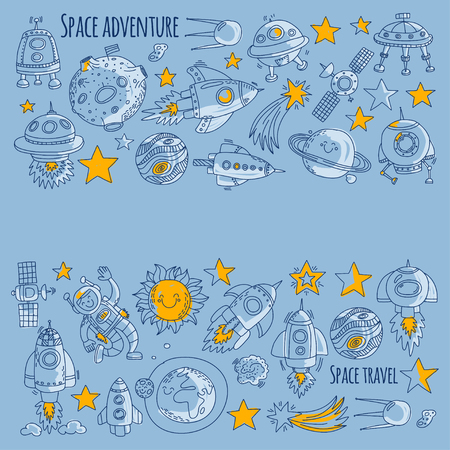 Space, satellite, moon, stars, spacecraft, space station Space hand drawn doodle icons and patterns Imagens - 77167623