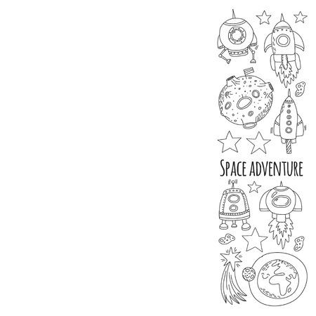 우주, 위성, 달, 별, 우주선, 우주 정거장 우주 손으로 그린 낙서 아이콘 및 패턴 일러스트