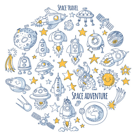 Space, satellite, moon, stars, spacecraft, space station Space hand drawn doodle icons and patterns