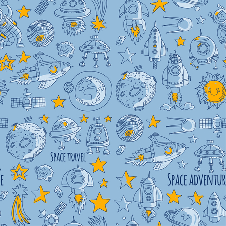 Seamless vector pattern Space, satellite, moon, stars, spacecraft, space station Space hand drawn doodle icons and patterns