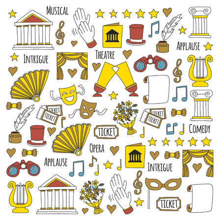 lyra: Hand drawn doodle Theatre set Vector illustration Sketchy theater icons Theatre acting performance elements Ticket Masks Lyra Flowers Curtain stage