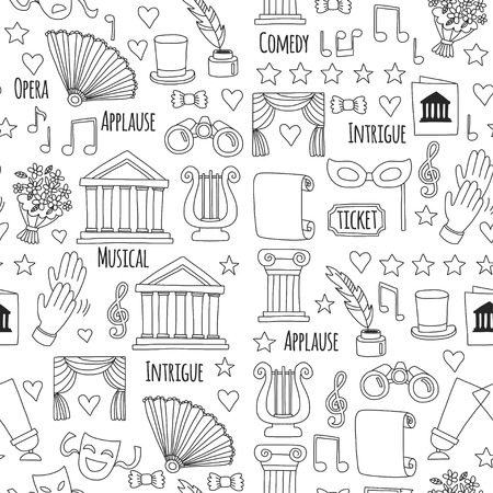 Hand drawn doodle Theatre set Vector illustration Sketchy theater icons Theatre acting performance elements Ticket Masks Lyra Flowers Curtain stage