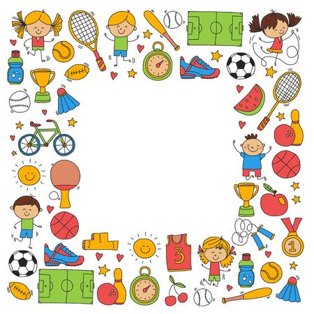 子供は男の子と女の子のベクトル パターンのフィットネス サッカー バレーボール テニス バスケット ボール自転車を実行している賞野球の子供た
