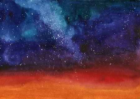 Watercolor galaxy Nebula Space image background with stars