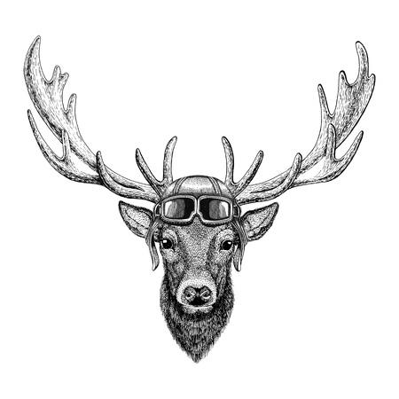 Deer wearing leather helmet Aviator, biker, motorcycle Hand drawn illustration for tattoo, emblem, badge, logo, patch