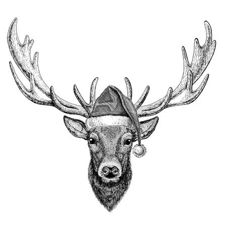 クリスマス帽子大晦日メリー クリスマスと幸せな新年動物園生活を身に着けている鹿休日お祝いサンタ クロースの帽子