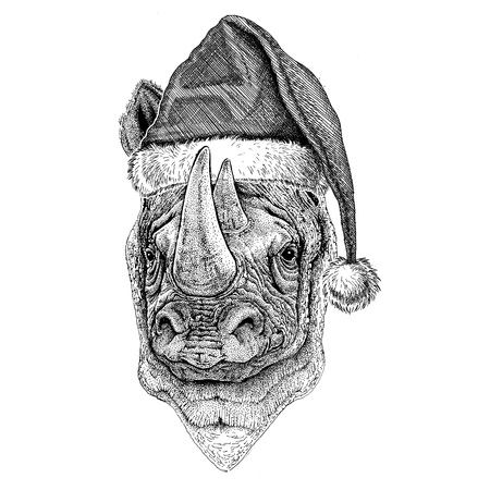 Rhinoceros, rhino wearing christmas hat New year eve Merry christmas and happy new year Zoo life Holidays celebration Hand drawn image