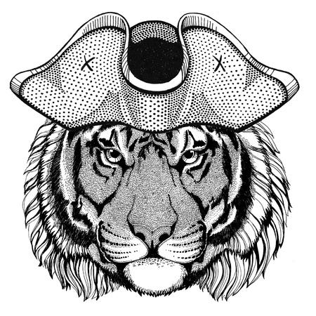 Wild tiger wearing pirate hat Cocked hat, tricorn Sailor, seaman, mariner, or seafarer