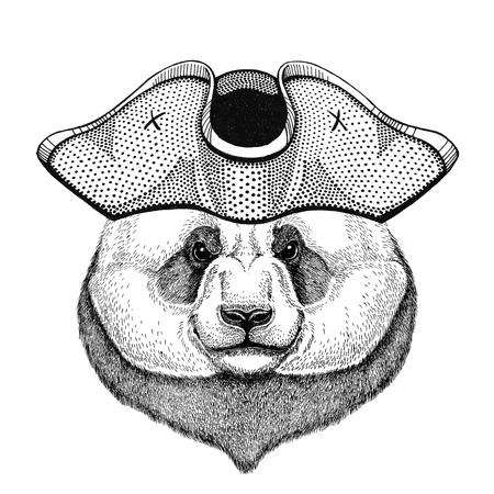 Panda bear, bamboo bear wearing pirate hat Cocked hat, tricorn Sailor, seaman, mariner, or seafarer