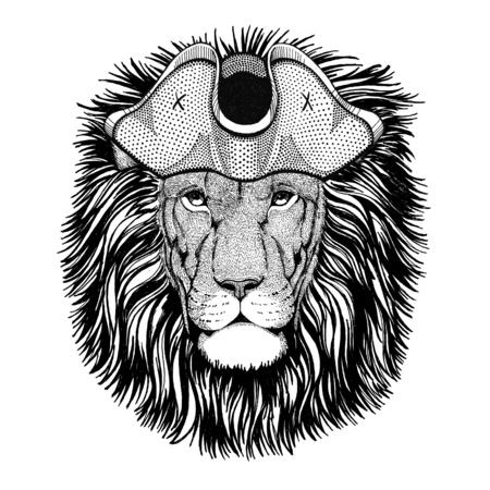 Wild Lion wearing pirate hat Cocked hat, tricorn Sailor, seaman, mariner, or seafarer