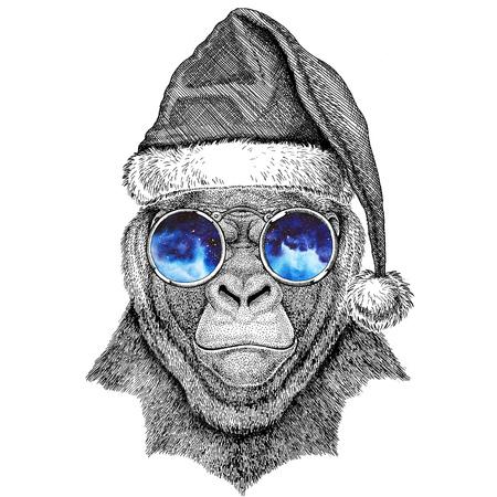 frightful: Gorilla, monkey, ape Frightful animal wearing christmas hat New year eve Merry christmas and happy new year Zoo life Holidays celebration Santa Claus hat