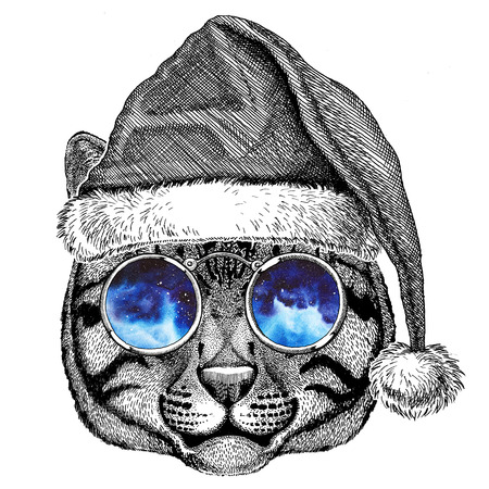 wearing: Wild cat Fishing cat wearing christmas hat New year eve Merry christmas and happy new year Zoo life Holidays celebration Santa Claus hat