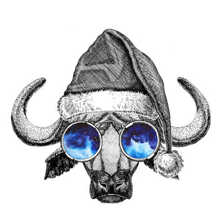Buffalo, bull, ox wearing christmas hat New year eve Merry christmas and happy new year Zoo life Holidays celebration Santa Claus hat