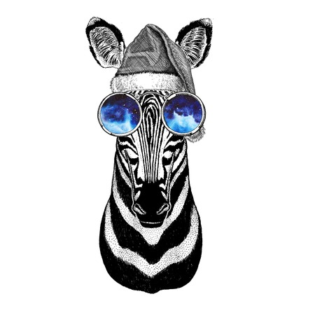 Zebra Horse wearing christmas hat New year eve Merry christmas and happy new year Zoo life Holidays celebration Hand drawn image