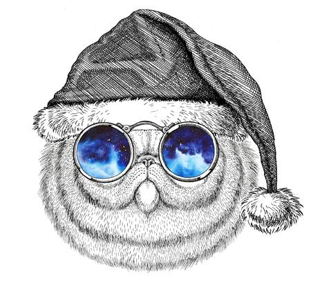 Portret van pluizige Perzische kat kerstmuts dragen Oudejaarsavond Vrolijk kerstfeest en gelukkig Nieuwjaar Zoo life Feestdagen viering Hand getekende afbeelding Stockfoto