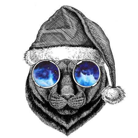 Panther Puma Cougar Wild cat wearing christmas hat New year eve Merry christmas and happy new year Zoo life Holidays celebration Hand drawn image