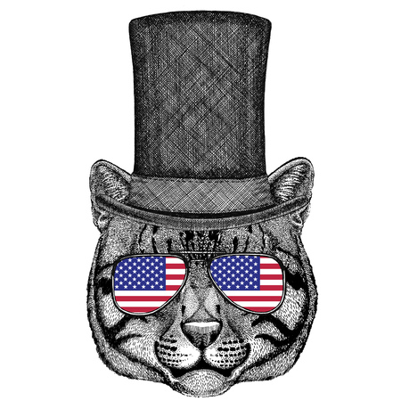 Vintage style drawing Animal wearing cylinder top hat Stock Photo